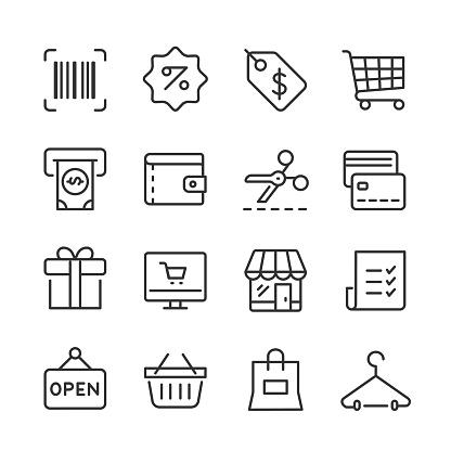 Shopping & Retail Icons — Monoline Series