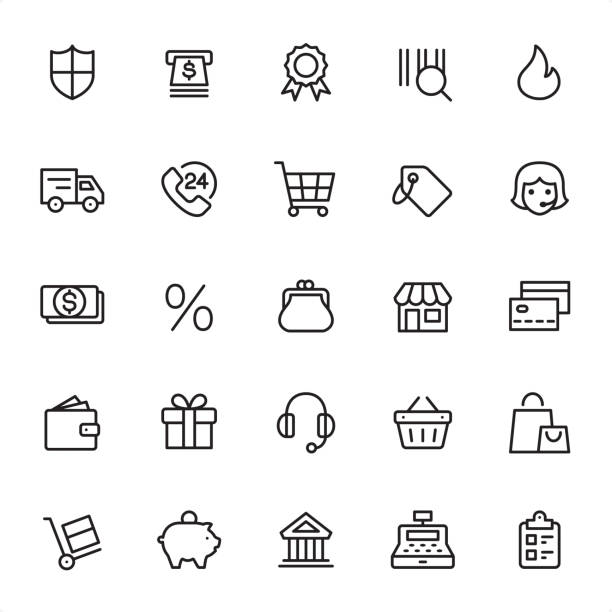 Shopping & Retail - Outline Icon Set Shopping & Retail - 25 Outline Style - Single black line icons - Pixel Perfect / Pack #07 / Icons are designed in 48x48pх square, outline stroke 2px.  First row of outline icons contains: Protection, ATM, Quality Mark, Bar Code, Hot Price;  Second row contains: Delivery, Online 24 Hrs, Shopping Cart, Price Tag, Merchandise;  Third row contains: Cash, Sale, Change Purse, Storefront, Credit Card;  Fourth row contains: Wallet, Gift, Headset, Basket, Shopping Bag;  Fifth row contains: Hand Truck, Piggy Bank, Bank, Cash Register, Checklist.  Complete Grandico collection - https://www.istockphoto.com/collaboration/boards/FwH1Zhu0rEuOegMW0JMa_w change purse stock illustrations