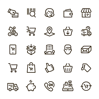Shopping & Retail - Pixel Perfect line icons