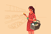 Shopping, sale, coice, store, buy concept. Young woman buyer consumer customer character choosing food products in grocery shop supermarket holding fruits in hand. Daily life recreation illustration.