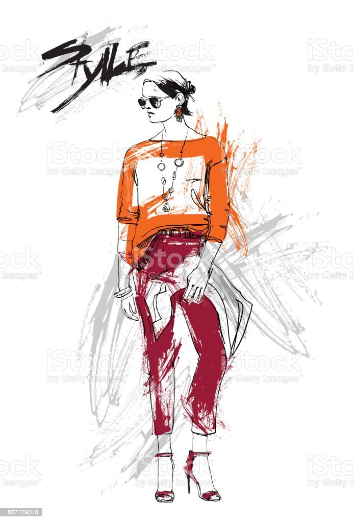 Shopping Sale Fashion Collection Style Model Girl Wear Elegant Clothes Discount Sketch Stock Illustration Download Image Now Istock