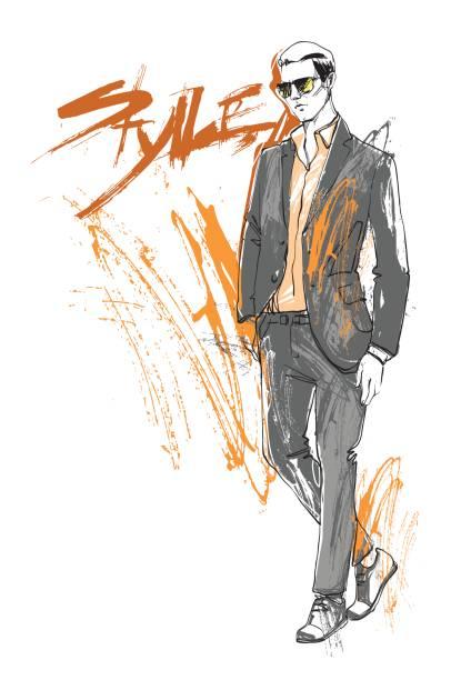 ilustraciones, imágenes clip art, dibujos animados e iconos de stock de comercial venta colección estilo modelo masculino ropa elegante ropa de último minuto en bosquejo - moda de hombre
