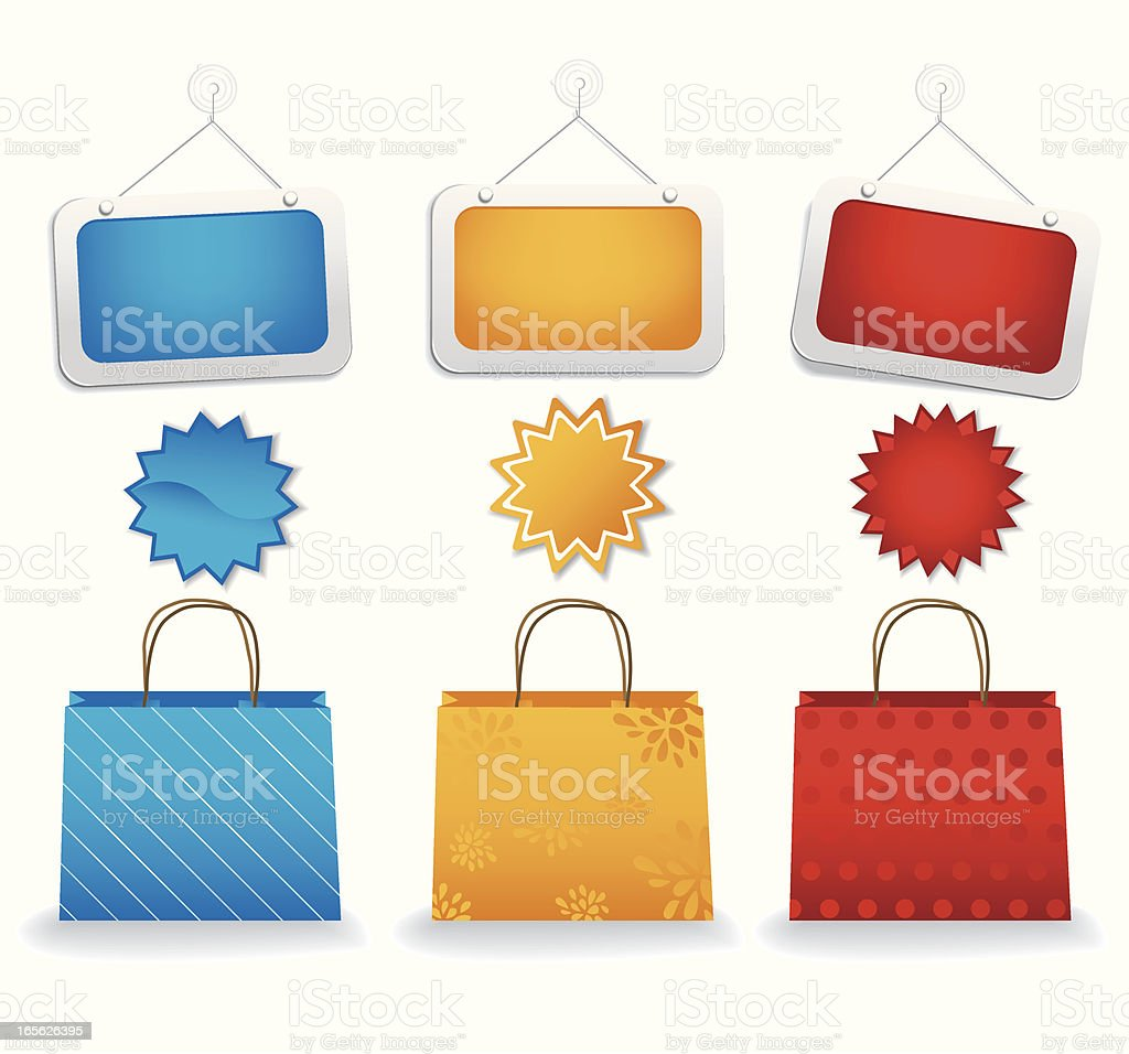 Shopping / Sale Set royalty-free shopping sale set stock vector art & more images of blue