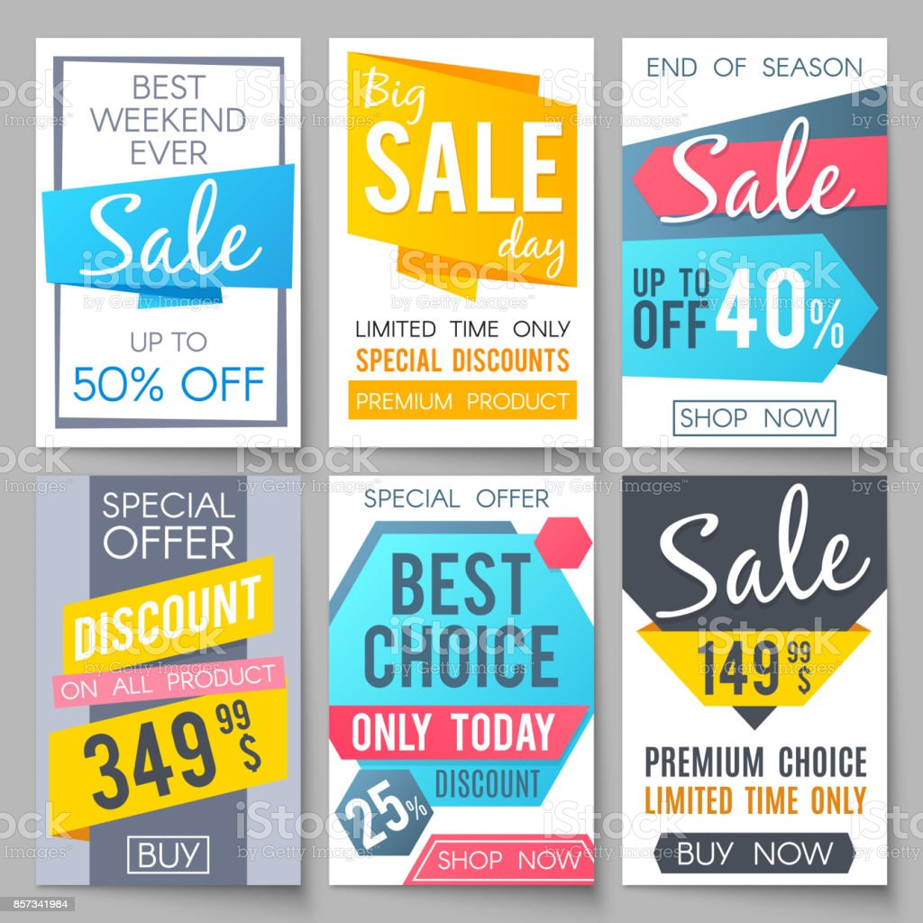 Shopping sale vector backgrounds. Retail promotional banners for web newsletter vector art illustration