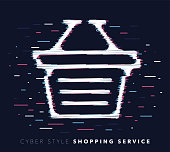 Glitch effect vector icon illustration of shopping service with abstract background.