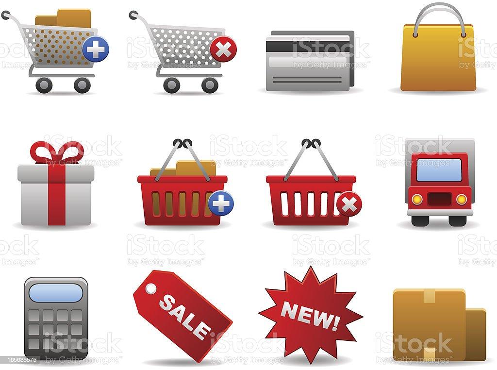 Shopping Set Vector illustration set of twelve shopping related elements Bag stock vector