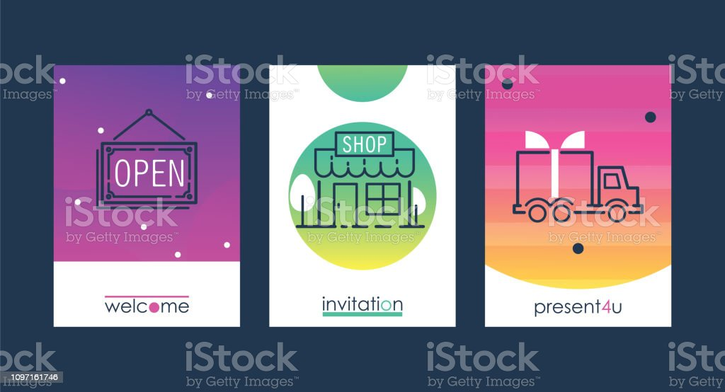 Shopping Set Vector Illustration Invitation Cards And