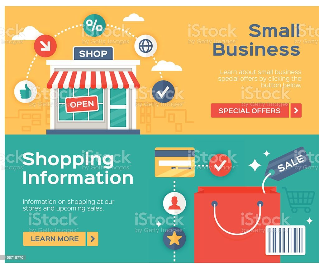 Shopping Small Business and Sale Information Banners vector art illustration