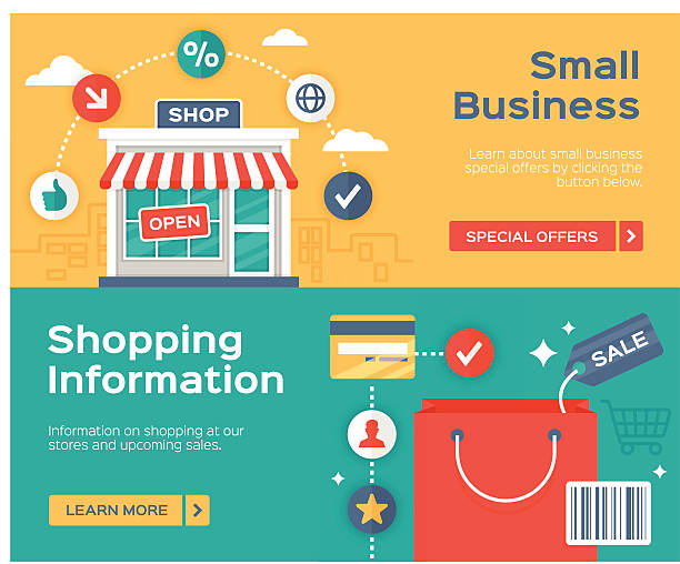 小規模ビジネスおよびショッピングの販売バナー情報 - 小売販売員点のイラスト素材/クリップアート素材/マンガ素材/アイコン素材