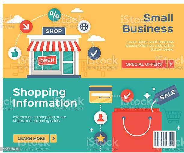 Shopping Small Business And Sale Information Banners Stok Vektör Sanatı & 2015'nin Daha Fazla Görseli