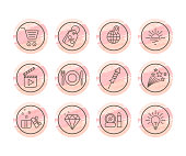 Shopping, social media, blogging linear icons set. Online store contour buttons. Shopping cart, tag, mirror, lipstick stickers, patches. Shooting star, rocket pins outline drawing on pink background