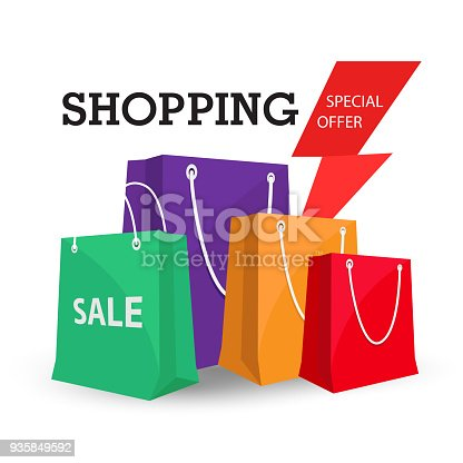 Shopping Special Offer Colorful Bag Background Vector Image