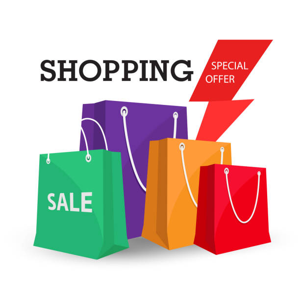 shopping special offer colorful bag background vector image - shopping bags stock illustrations