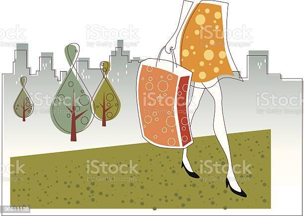 Покупками — стоковая векторная графика и другие изображения на тему Деловой центр города