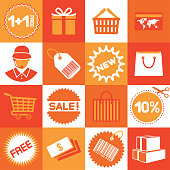 Vector icons set on a grid about shopping and sales.