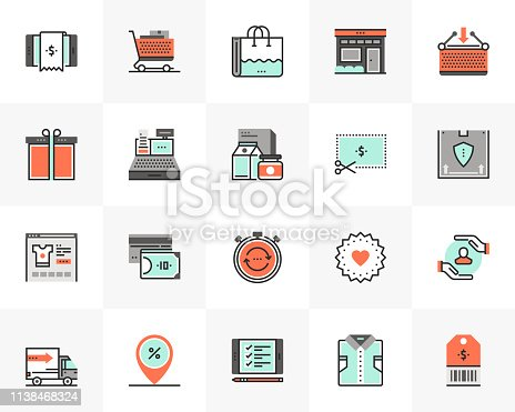 Flat line icons set of online shopping, product store offers. Unique color flat design pictogram with outline elements. Premium quality vector graphics concept for web, logo, branding, infographics.