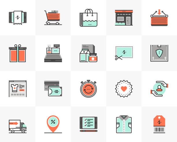 Shopping Store Futuro Next Icons Pack vector art illustration