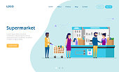 Shopping, Supermarket Choice Concept. People Paying For Purchases With Credit Card Or Cash At Cash Register At The Supermarket. Man With Shopping Cart Waiting In Line. Flat Style Vector Illustration.