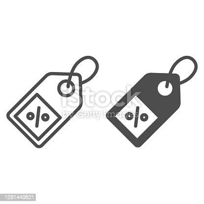 istock Shopping tag line and solid icon, market concept, Special offer sign on white background, Percent discount tag icon in outline style for mobile concept and web design. Vector graphics. 1251440521