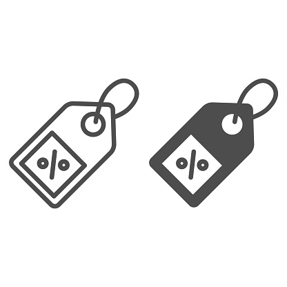 Shopping tag line and solid icon, market concept, Special offer sign on white background, Percent discount tag icon in outline style for mobile concept and web design. Vector graphics