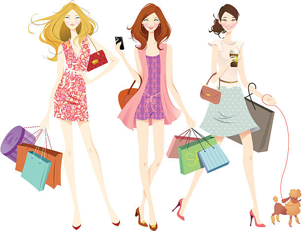 shopping teens - chihhang stock illustrations