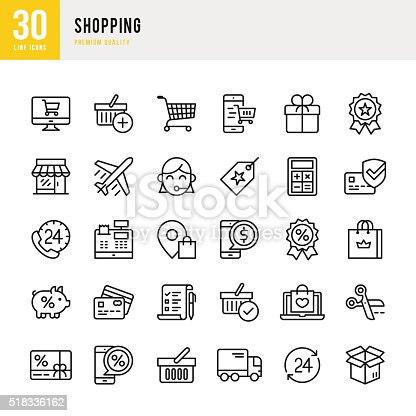 Shopping set of 30 thin line vector icons.