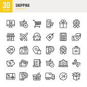 Shopping - Thin Line Icon Set