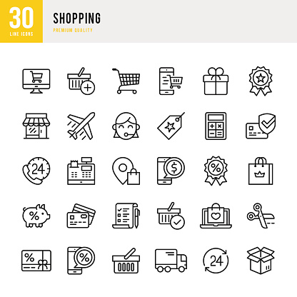 Shopping Thin Line Icon Set Stock Illustration - Download Image Now