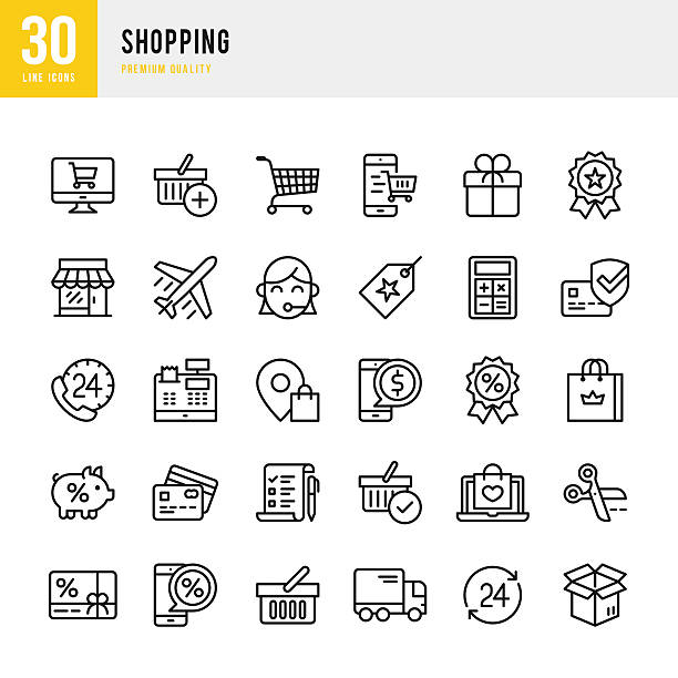 shopping - thin line icon set - online shopping stock illustrations