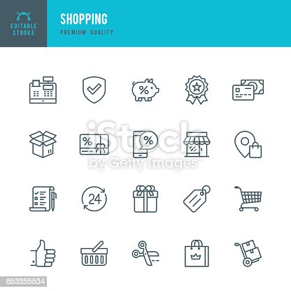 Set of Shopping thin line vector icons.