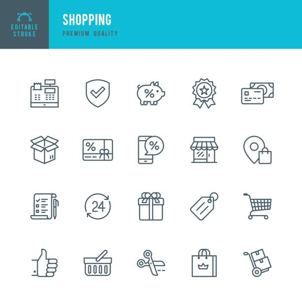 Shopping  - Thin Line Icon Set vector art illustration