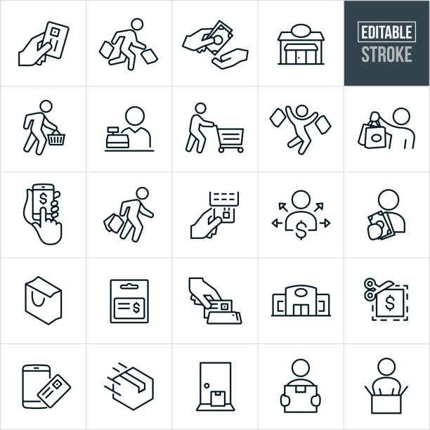 Shopping Thin Line Icons - Editable Stroke A set of shopping icons that include editable strokes or outlines using the EPS vector file. The icons include people shopping, a shopper carrying shopping bags, a person using a credit card to pay, a person paying with cash, a shop, a person carrying a shopping basket, a person pushing a shopping cart, a cashier, a person shopping using a smartphone, a shopping bag, gift card, store, coupon, package, delivery and unboxing to name just a few. grocery store stock illustrations