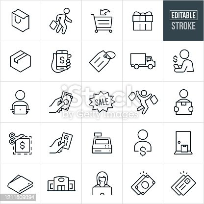 A set of shopping icons that include editable strokes or outlines using the EPS vector file. The icons include a shopping bag, shopper with a shopping bag, shopping cart, wrapped gift, package, online shopping from smartphone, price tag, delivery truck, person shopping online, person sitting at computer, hand holding cash, sale sign, shopper jumping for joy while holding shopping bags, customer holding package, coupon, hand holding credit card, cash register, package on doorstep, wallet, retail store, customer service representative, dollar bills, credit card and others.