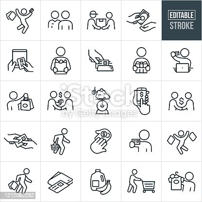 A set of shopping icons that include editable strokes or outlines using the EPS vector file. The icons include a person jumping for joy with shopping bags in one hand and a credit card in the other, customer being approached by a salesman, deliveryman delivering a package to a customer, hand giving another hand cash, online purchasing from a tablet pc, customer holding a bag of groceries, credit card being scanned in a credit card reader, customer holding a wrapped gift, customer holding credit card while sitting at laptop, shopper holding shopping bags, two people shaking hands while one holds a credit card, food scale, online purchasing from smartphone, person giving another person a credit card, customer carrying shopping basket, customer holding up credit card, groceries, shopper pushing shopping cart and a shopper holding up a shirt for purchase to name a few.