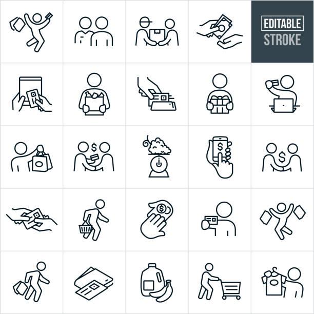 zakupy thin line ikony - edytowalny obrys - handel detaliczny stock illustrations