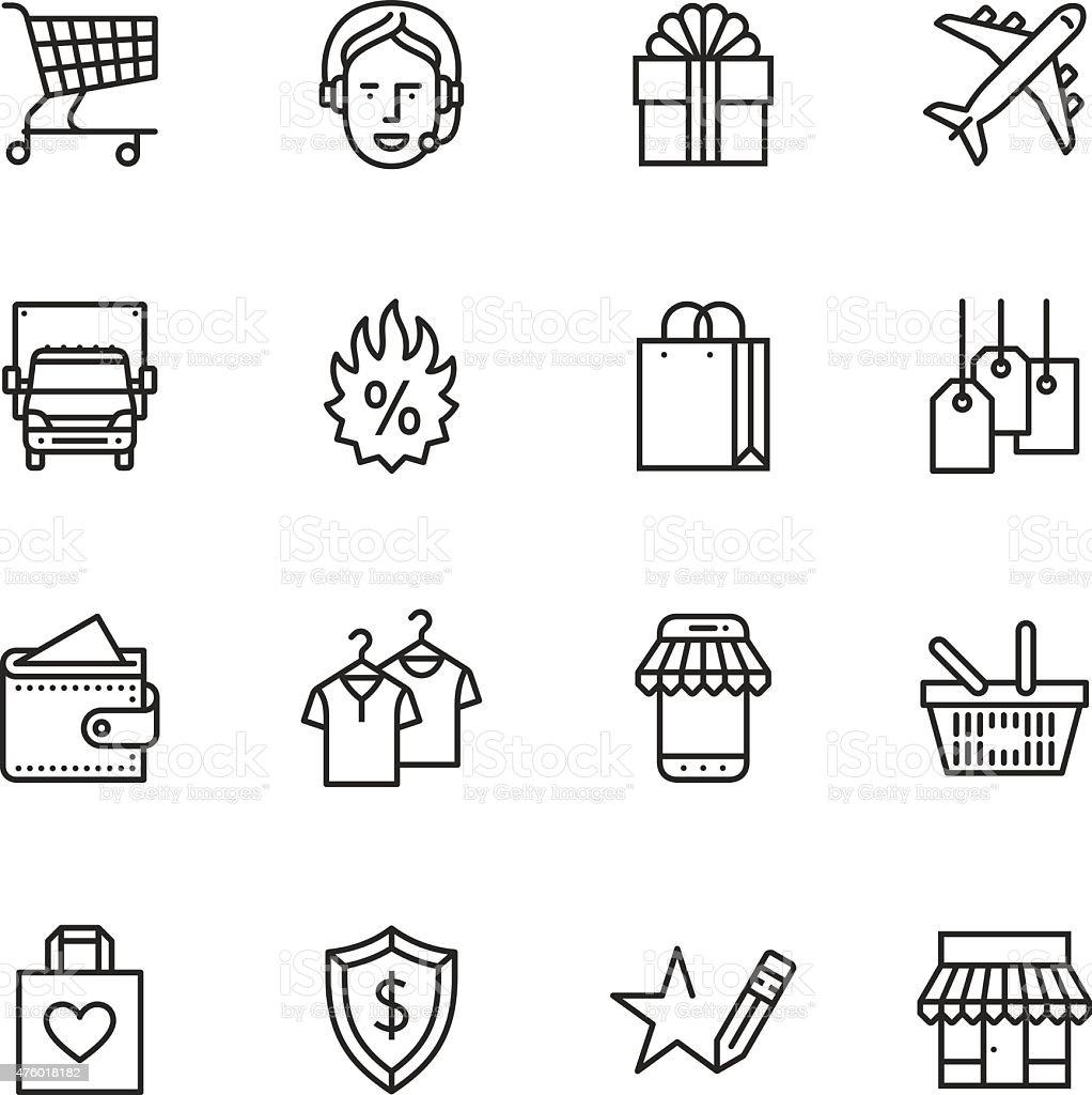 Shopping Thin Line icons vector art illustration