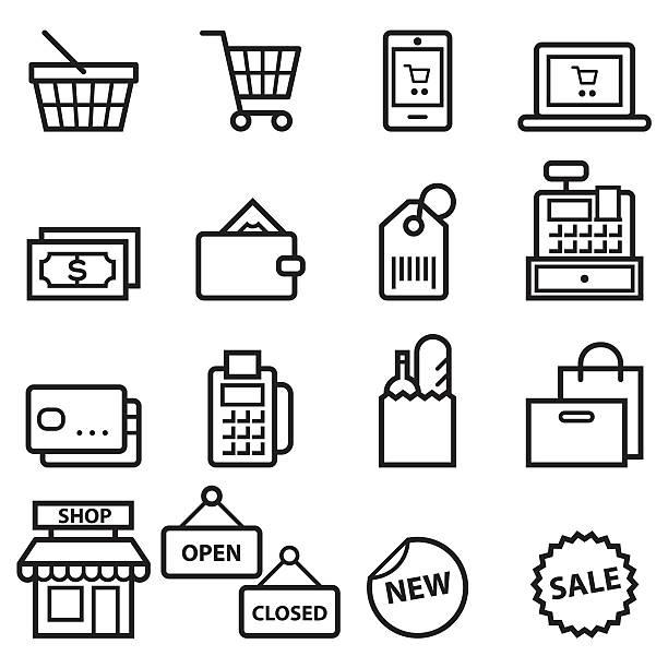 cienka linia zakupy ikony - kosz na zakupy stock illustrations