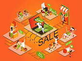 Shopping through the Internet. People buy through a smartphone and a laptop. Girl with shopping cart and woman with shopping. Autumn sale. Isometric 3d