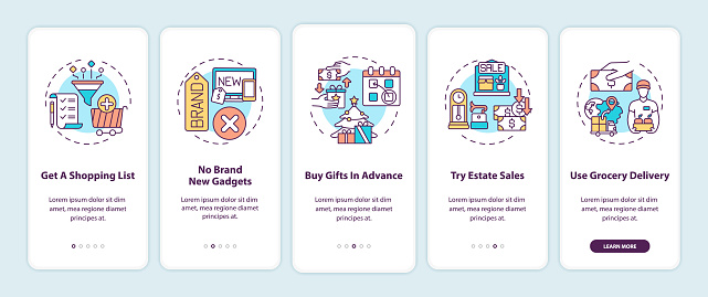 Shopping tips onboarding mobile app page screen with concepts