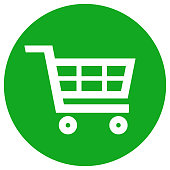 Shopping trolley cart icon in green circle. Vector