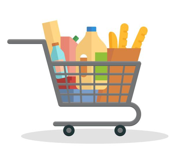 Shopping trolley full of food Shopping trolley full of food. Flat vector illustration bread clipart stock illustrations