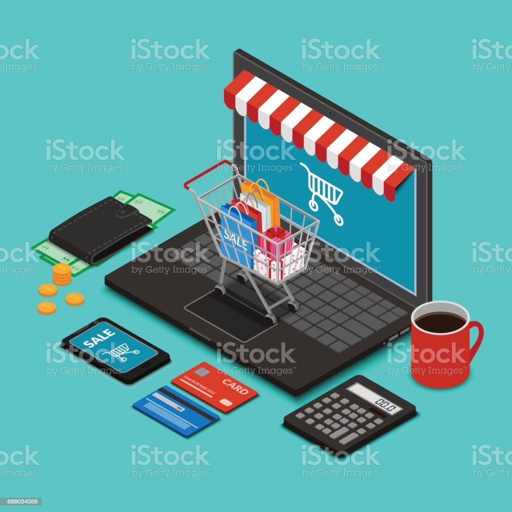 Shopping trolley on the laptop keyboard vector art illustration