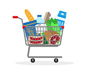 Shopping trolley with food, drinks and toilet paper. Vector illustration.