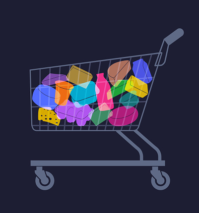 Shopping trolley with various Dairy Products