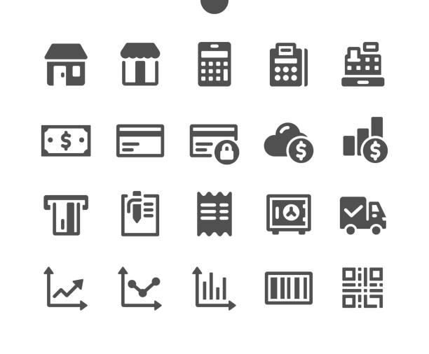 ilustraciones, imágenes clip art, dibujos animados e iconos de stock de shopping v1 ui pixel perfect well-crafted vector solid icons 48x48 listo para 24x24 grid para gráficos web y aplicaciones. pictograma mínimo simple - sólido