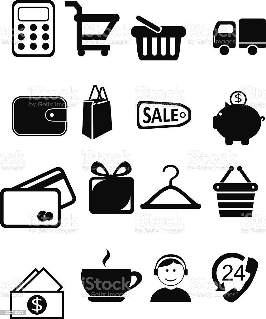Shopping vector icons vector art illustration