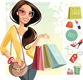 Illustration of a woman shopping. Woman, icons and background are grouped and layered separately.