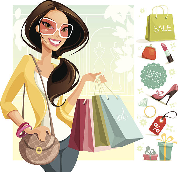 Shopping Illustration of a woman shopping. Woman, icons and background are grouped and layered separately. change purse stock illustrations