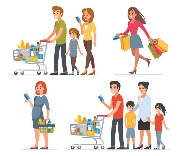 shopping - handel detaliczny stock illustrations