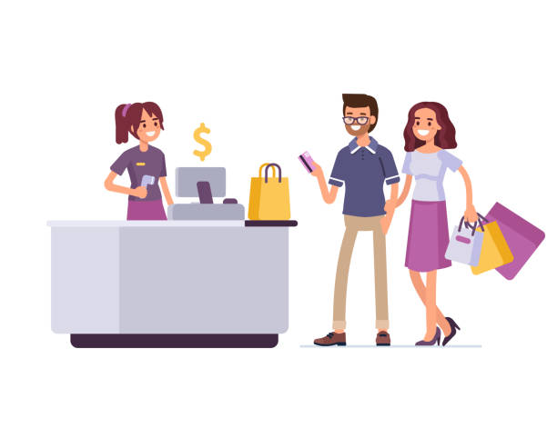 shopping - retail worker stock illustrations